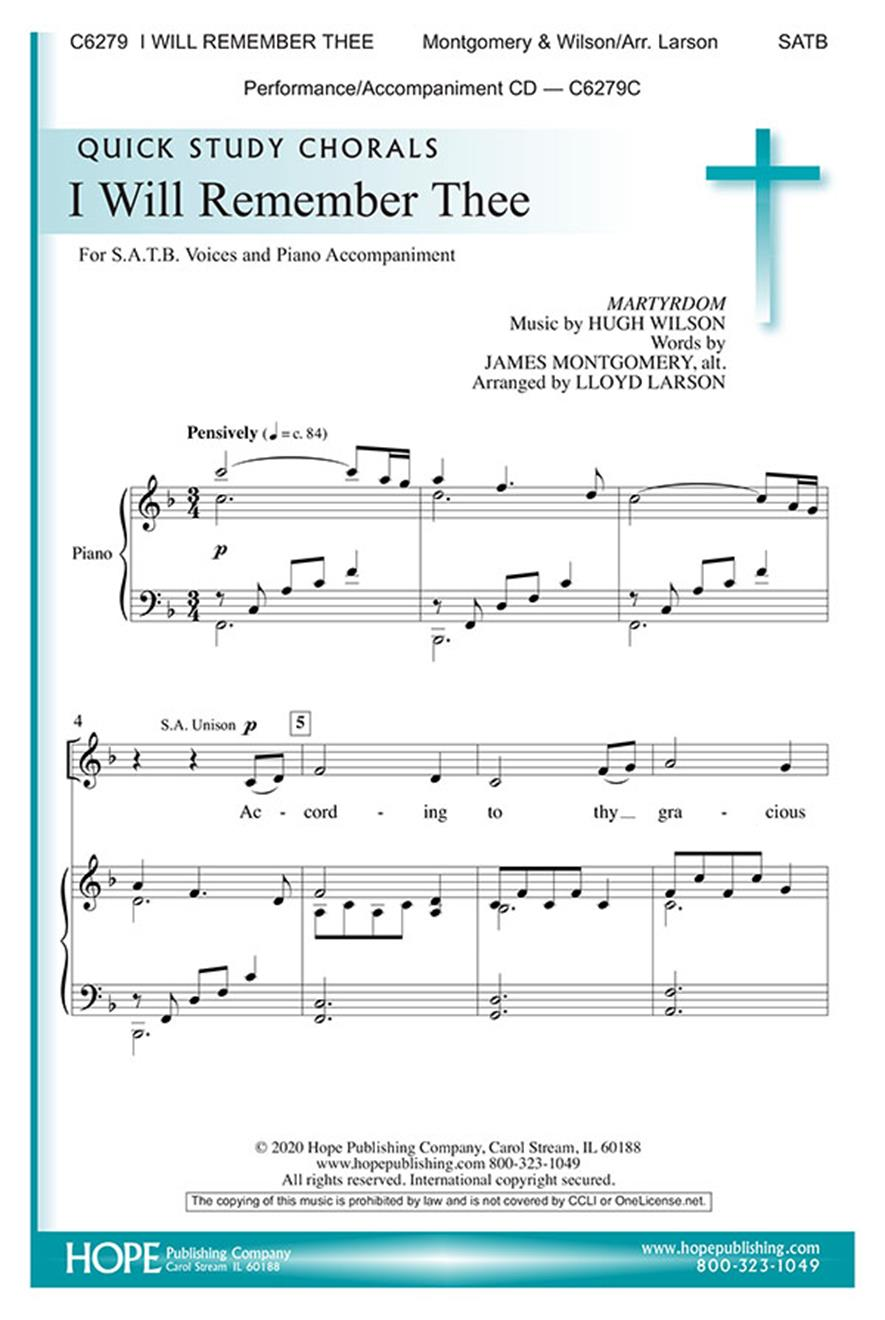 I Will Remember Thee - SATB Cover Image