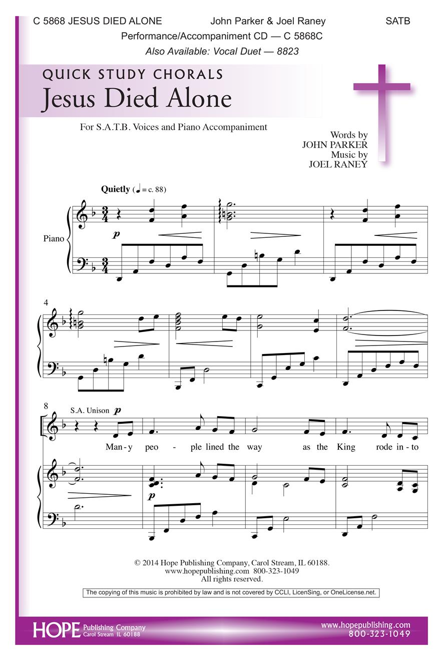 Jesus Died Alone - SATB Cover Image