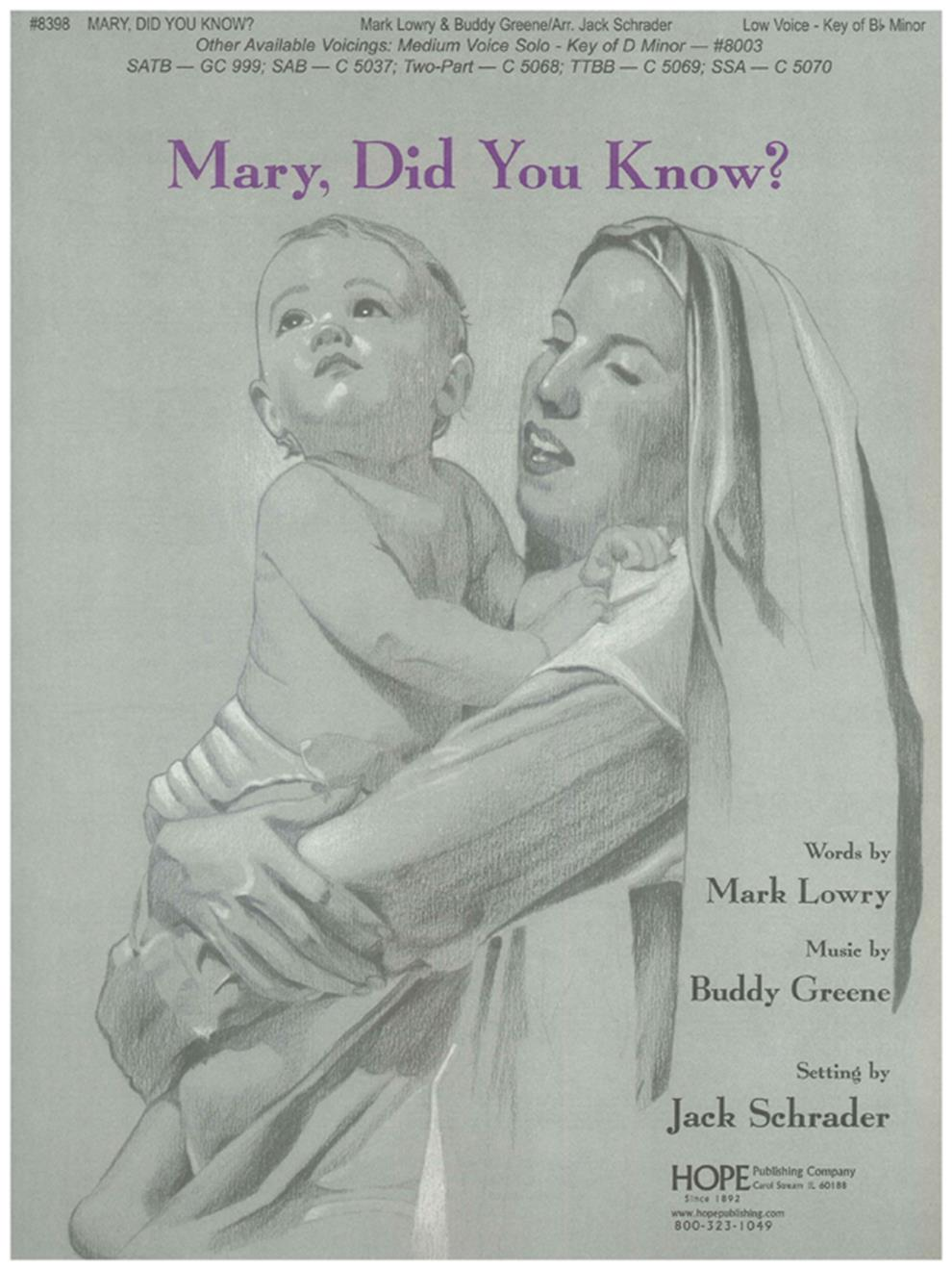 Mary Did You Know - SATB Cover Image