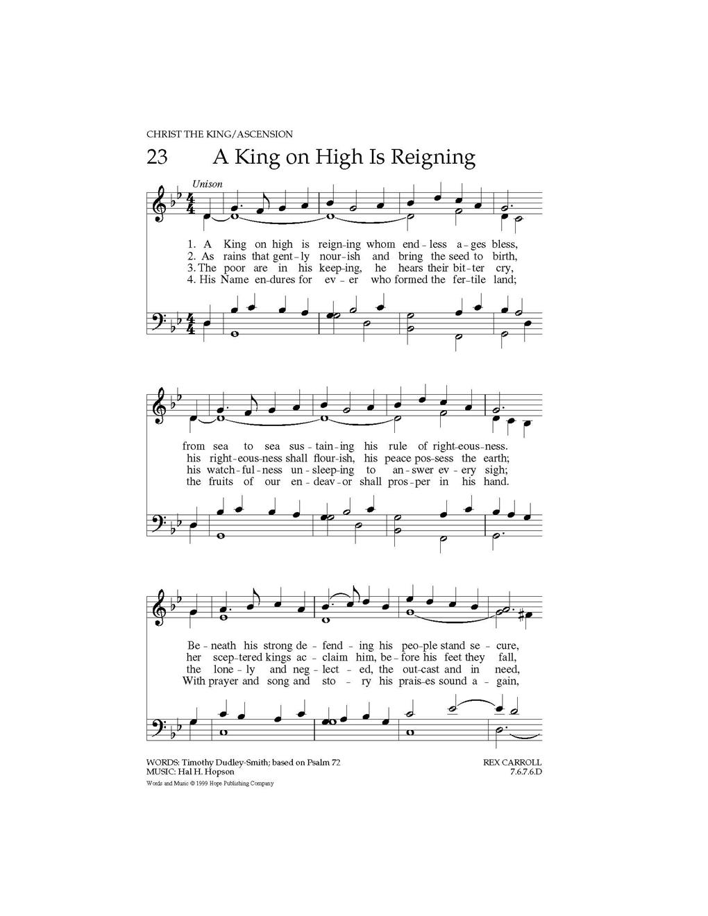 A King on High Is Reignin - Hope Publishing Company
