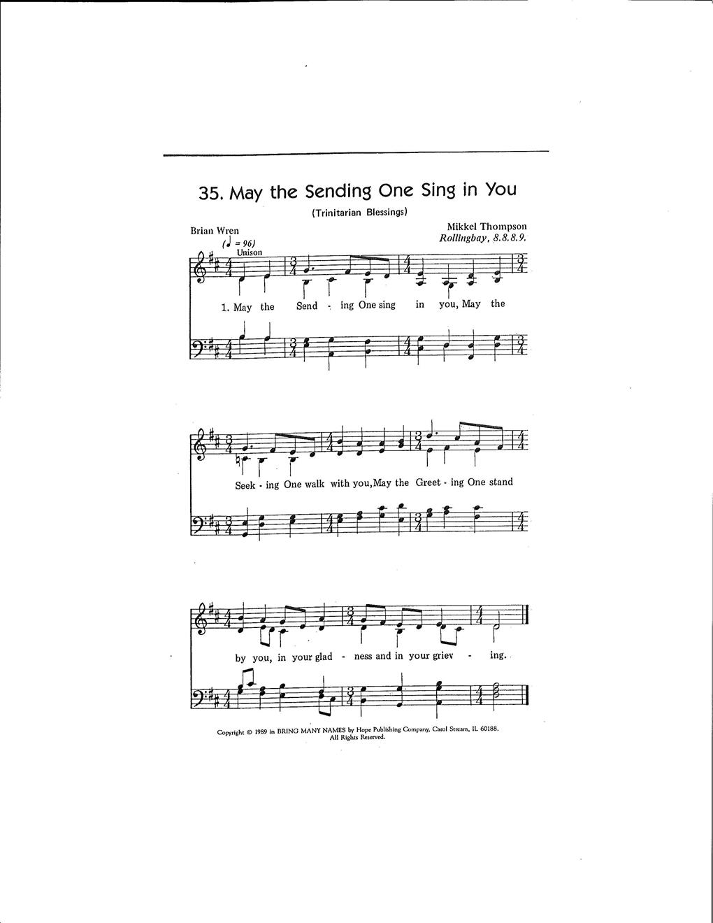 May the Sending One Sing in You (Trinitarian Blessings) Cover Image