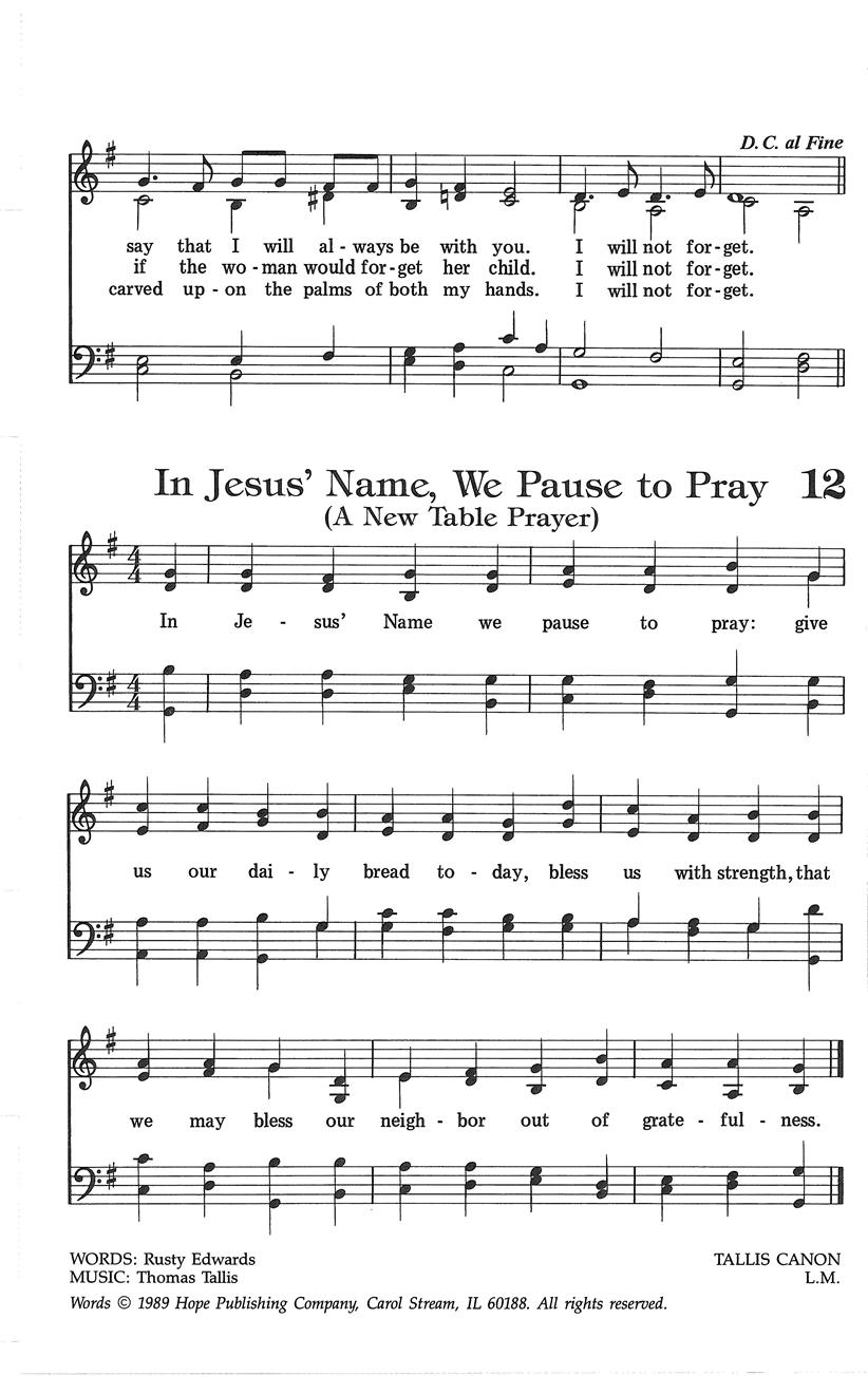 In Jesus' Name We Pause to Pray Cover Image
