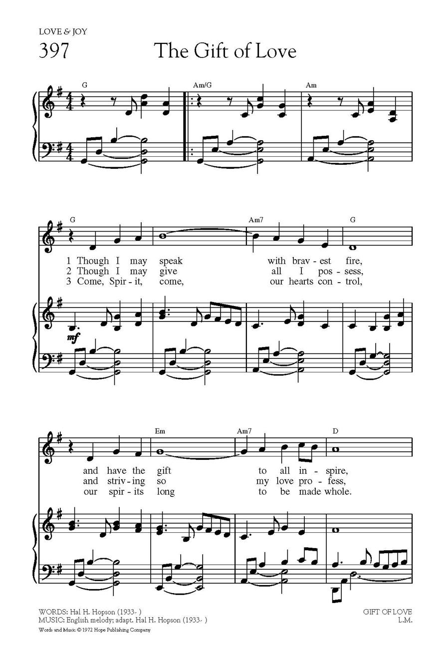the gift of love hal hopson sheet music