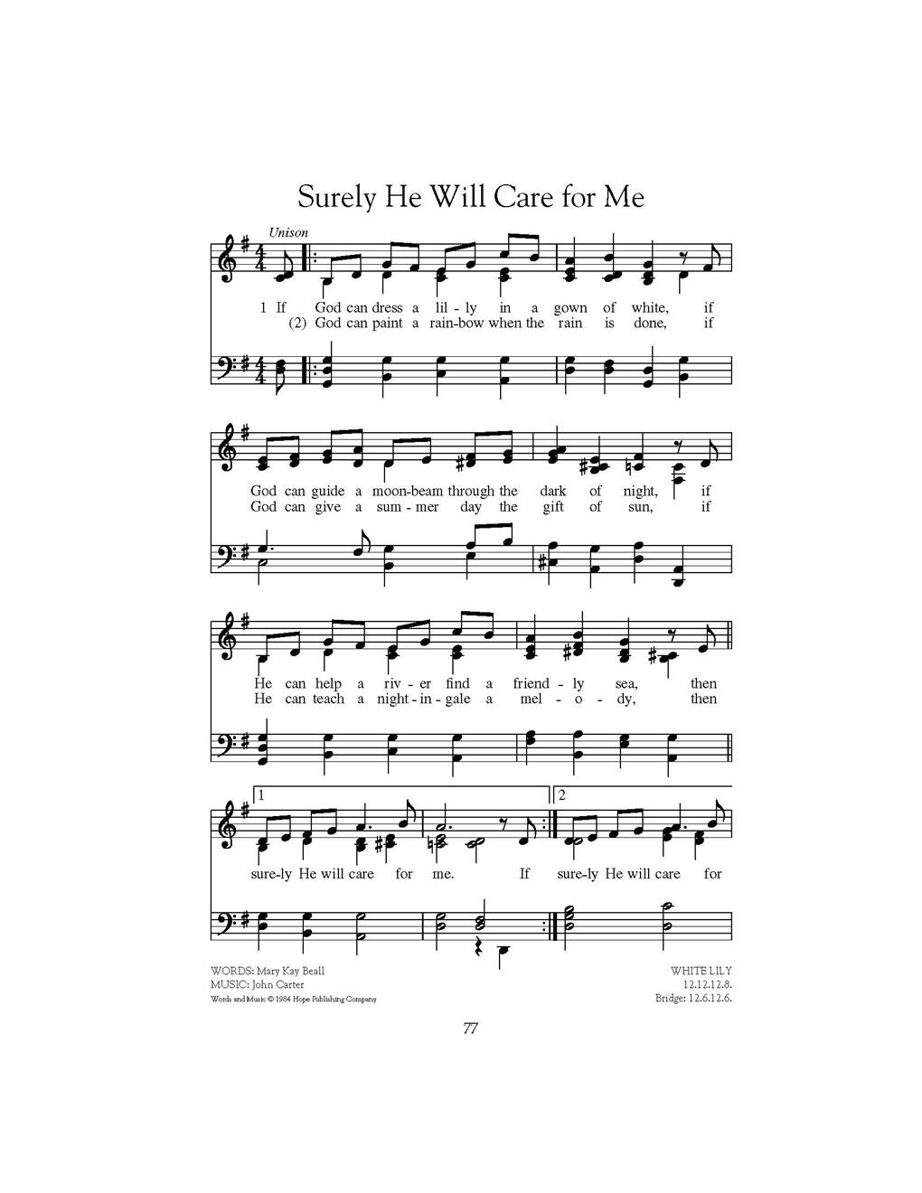 Surely He Will Care for Me Cover Image